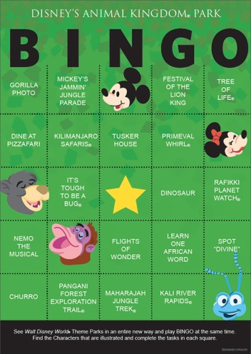 Disney Animal Kingdom Bingo